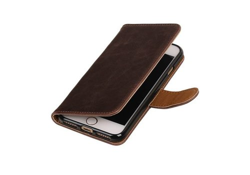 Pull Up TPU PU Leder Bookstyle voor iPhone 7 Mocca