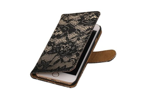 Lace Bookstyle Hoes voor iPhone 7 Zwart