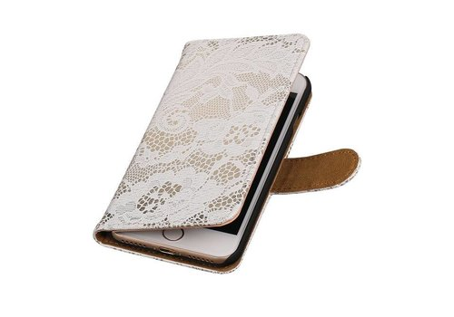 Lace Bookstyle Hoes voor iPhone 7 Wit