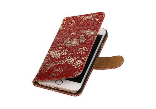 Lace Bookstyle Hoes voor iPhone 7 Rood
