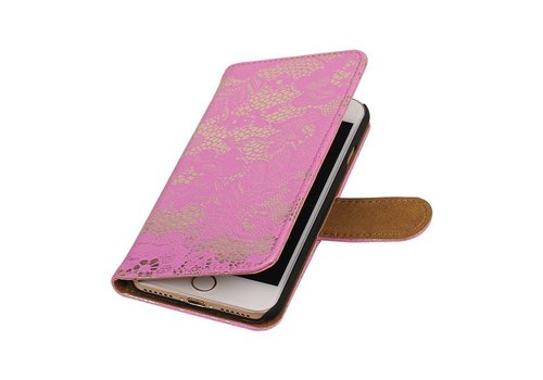 Lace Bookstyle Hoes voor iPhone 7 Roze