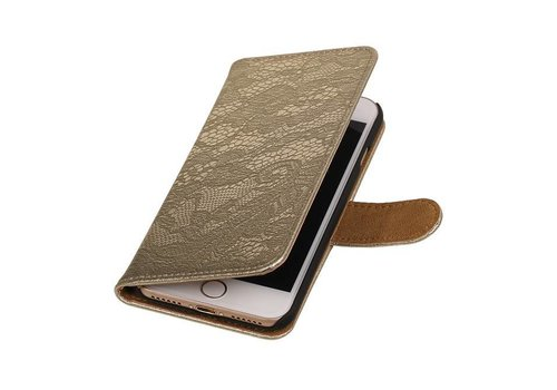 Lace Bookstyle Hoes voor iPhone 7 Goud