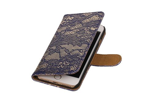 Lace Bookstyle Hoes voor iPhone 7 Blauw