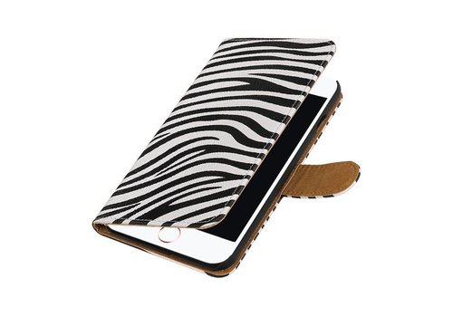 Zebra Bookstyle Hoes voor iPhone 7 Plus Wit