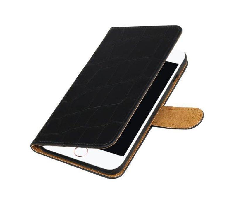 Croco Bookstyle Hoes voor iPhone 7 Plus Zwart