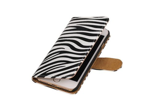 Zebra Bookstyle Hoes voor iPhone 7 Wit