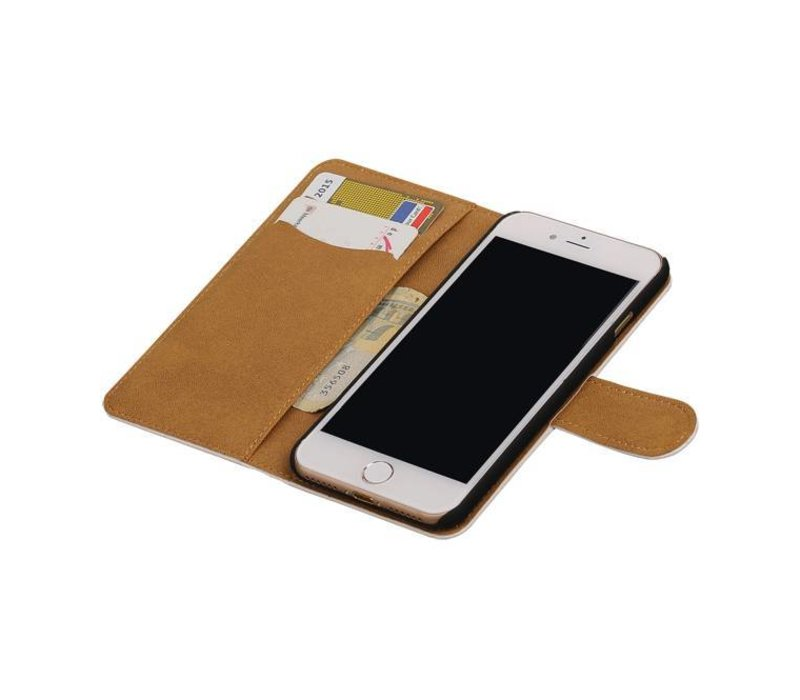 Croco Bookstyle Hoes voor iPhone 7 Wit