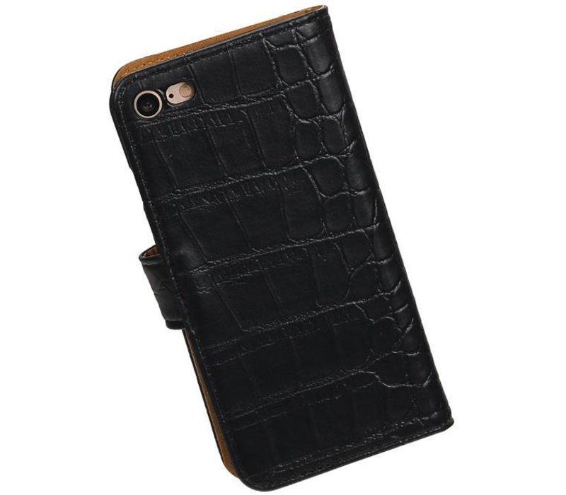 Croco Bookstyle Hoes voor iPhone 7 Zwart