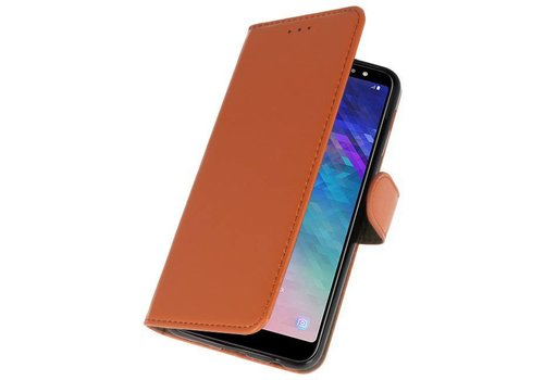 Bookstyle Wallet Cases Hoesje voor Galaxy A6 Plus 2018 Bruin