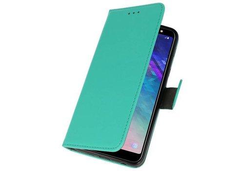 Bookstyle Wallet Cases Hoesje voor Galaxy A6 Plus 2018 Groen
