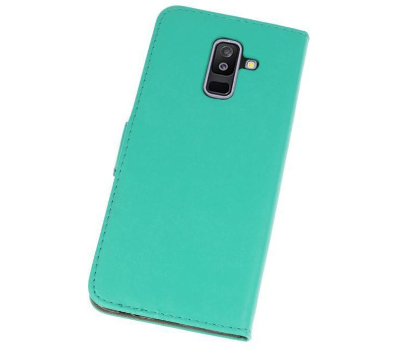 Bookstyle Wallet Cases Hoesje voor Galaxy A6 Plus 2018 Groen