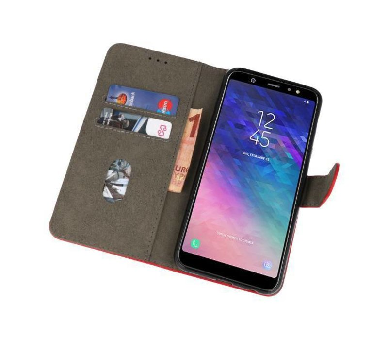 Bookstyle Wallet Cases Hoesje voor Galaxy A6 Plus 2018 Rood