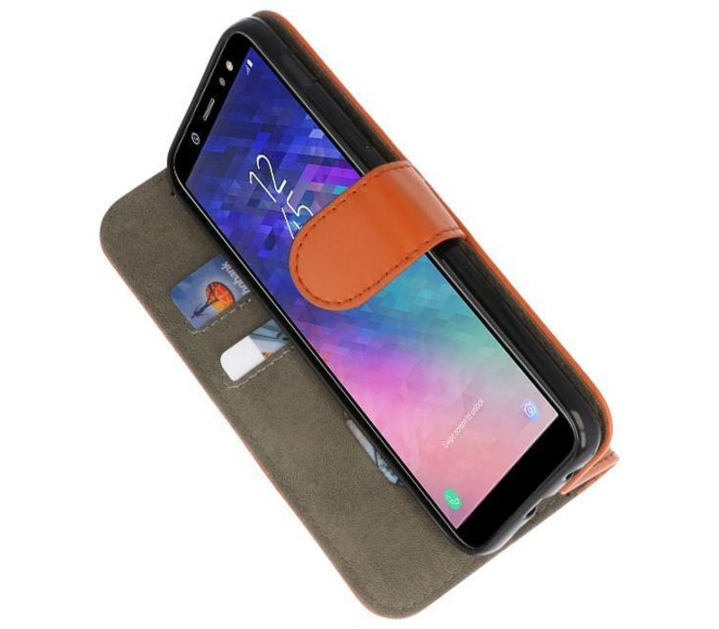Bookstyle Wallet Cases Hoesje voor Galaxy A6 2018 Bruin