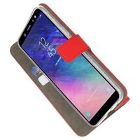 Bookstyle Wallet Cases Hoesje voor Galaxy A6 2018 Rood