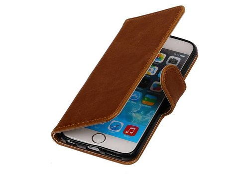 Pull Up TPU PU Leder Bookstyle voor iPhone 6/s Plus Bruin