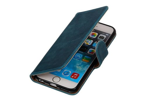 Pull Up TPU PU Leder Bookstyle voor iPhone 6/s Plus Blauw
