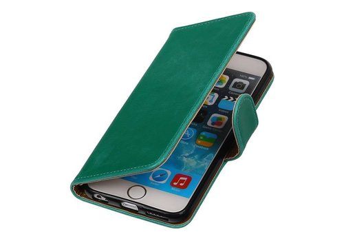 Pull Up TPU PU Leder Bookstyle voor iPhone 6/s Plus Groen