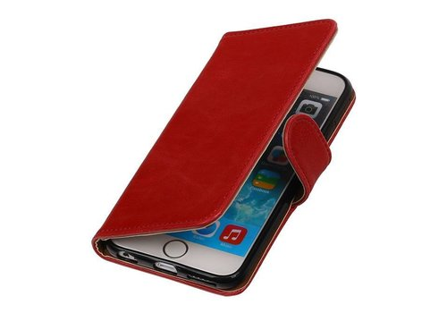 Pull Up TPU PU Leder Bookstyle voor iPhone 6/s Plus Rood