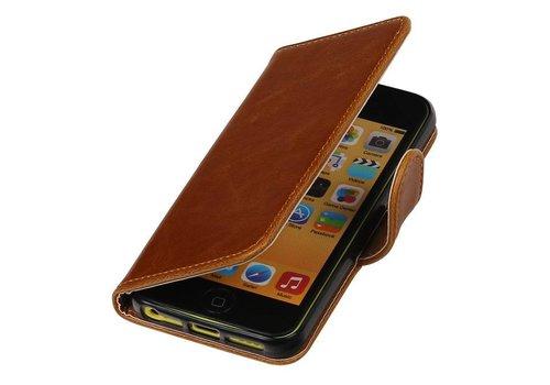 Pull Up TPU PU Leder Bookstyle voor iPhone SE Bruin