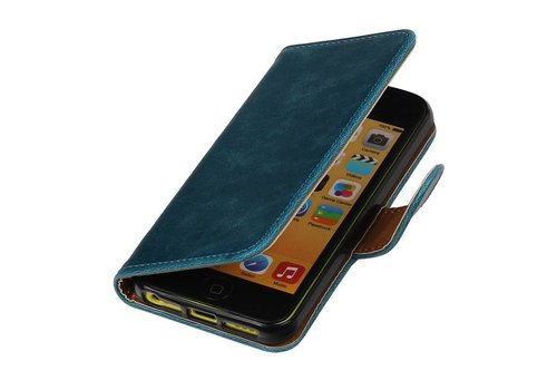 Pull Up TPU PU Leder Bookstyle voor iPhone SE Blauw