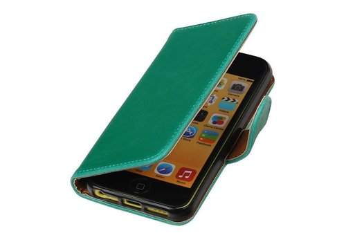 Pull Up TPU PU Leder Bookstyle voor iPhone SE Groen