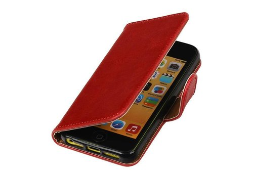 Pull Up TPU PU Leder Bookstyle voor iPhone SE Rood