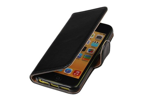 Pull Up TPU PU Leder Bookstyle voor iPhone 5/s Zwart