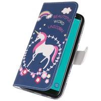 Blauw Unicorn Bookstyle Hoesje voor Galaxy J6 2018