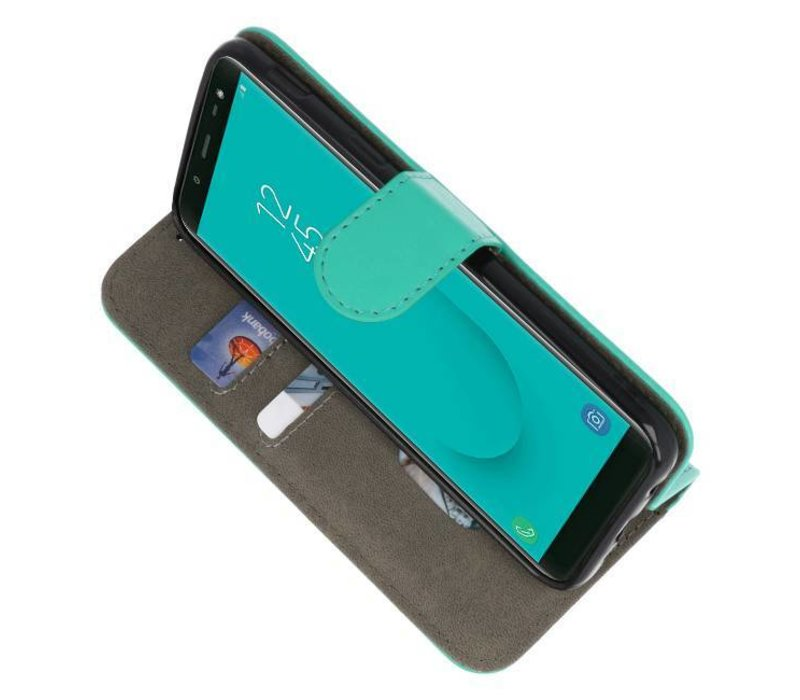 Bookstyle Wallet Cases Hoesje voor Galaxy J6 2018 Groen