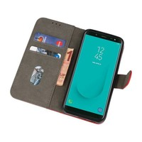 Bookstyle Wallet Cases Hoesje voor Galaxy J6 2018 Rood