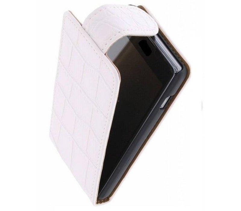 Croco Classic Flip Hoes voor iPhone 6 Wit