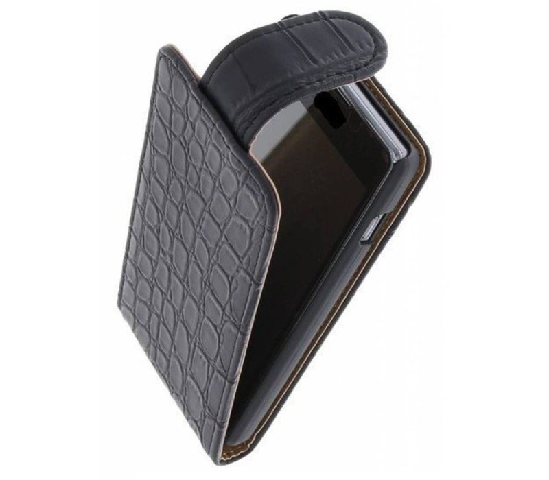 Croco Classic Flip Hoes voor iPhone 6 Zwart
