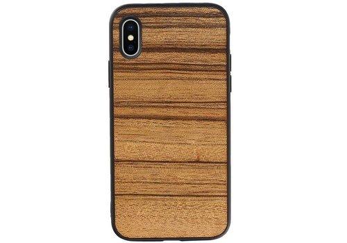 Hout Design Hardcase Hoesje voor iPhone X - XS Horizontaal 1