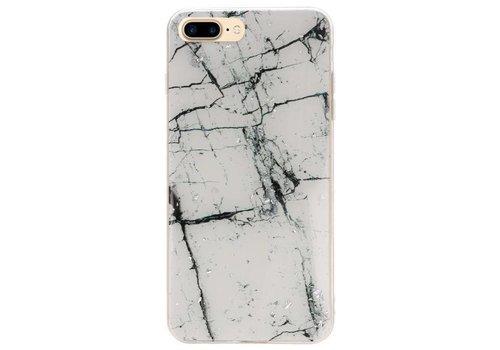 Print Hardcase voor iPhone 8 Plus Marble Wit