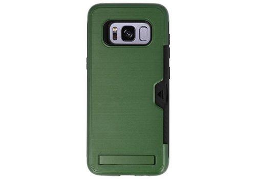 Tough Armor Kaarthouder Stand Hoesje voor Galaxy S8 Donker Groen