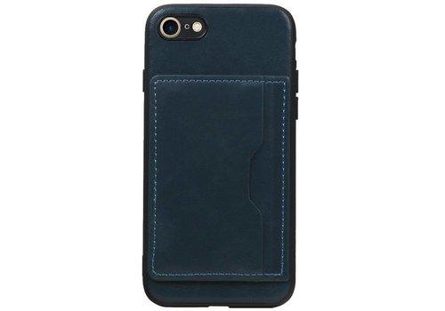 Staand Back Cover 1 Pasjes voor iPhone 8 / 7 Navy