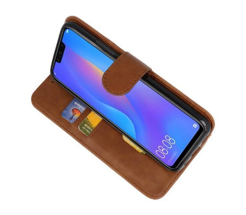 Bookstyle Wallet Cases Hoes voor Huawei P20 Lite Bruin