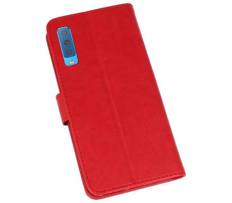 Bookstyle Wallet Cases Hoesje voor Galaxy A7 2018 Rood