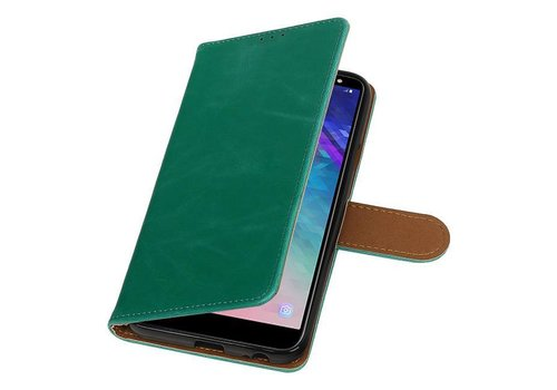 Pull Up Bookstyle voor Samsung Galaxy A6 2018 Groen