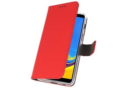 Wallet Cases Hoesje voor Galaxy A7 (2018) Rood