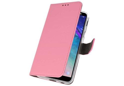 Wallet Cases Hoesje voor Galaxy A6 (2018) Roze