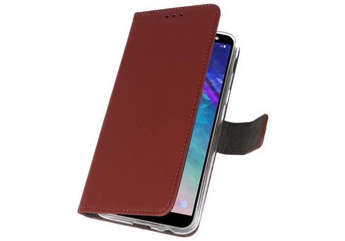 Wallet Cases Hoesje voor Galaxy A6 (2018) Bruin
