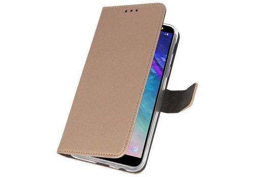 Wallet Cases Hoesje voor Galaxy A6 (2018) Goud