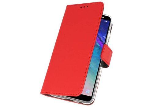 Wallet Cases Hoesje voor Galaxy A6 (2018) Rood