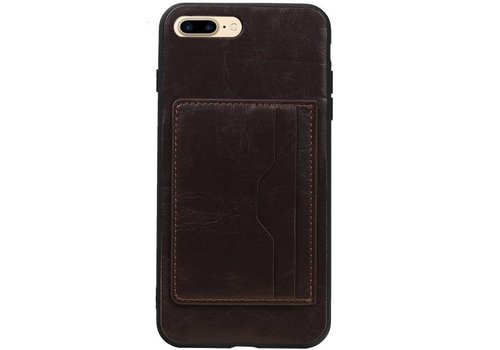 Staand Back Cover 1 Pasjes voor iPhone 8 Plus Mocca