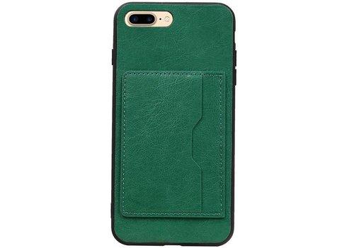 Staand Back Cover 1 Pasjes voor iPhone 8 Plus Groen