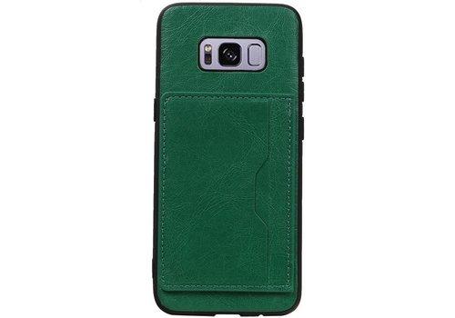 Staand Back Cover 1 Pasjes voor Galaxy S8 Groen