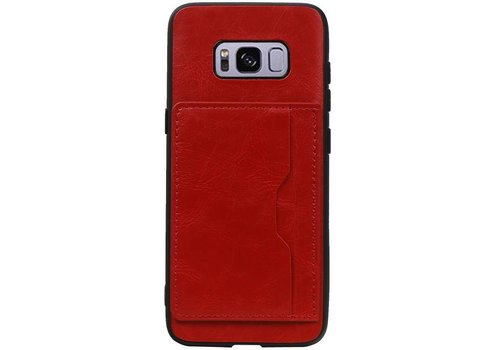 Staand Back Cover 1 Pasjes voor Galaxy S8 Rood