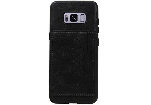 Staand Back Cover 1 Pasjes voor Galaxy S8 Zwart