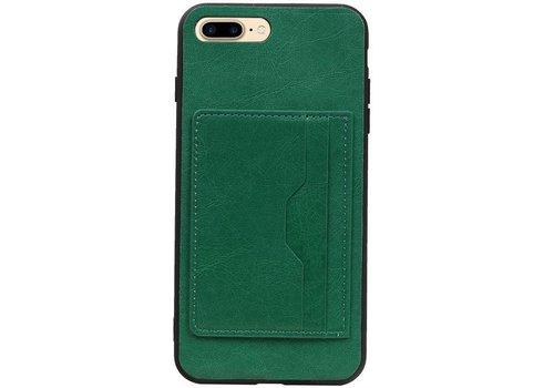 Staand Back Cover 2 Pasjes voor iPhone 8 Plus Groen